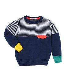 Wingsfield Striped Full Sleeves Sweater - Dark Blue