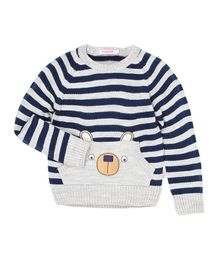 Wingsfield Stripes Full Sleeves Sweater - Dark Blue