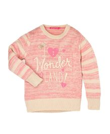 Wingsfield I Wonder Land Design Full Sleeves Sweater - Pink