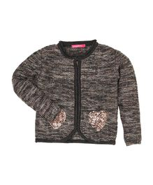 Wingsfield Heart Sequin Work Full Sleeves Sweater - Dark Grey