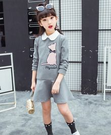 Pre Order - Awabox Dog Design Full Sleeves Dress - Grey
