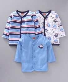 Babyhug Full Sleeves Jhablas Stripes & Bear Print Pack of 3 - Blue White
