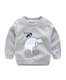 Pre Order - Awabox Polar Bear Patch Sweatshirt - Light Grey