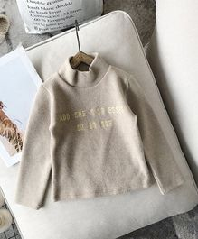 Pre Order - Awabox Full Sleeves Letters Embroidered Top - Beige
