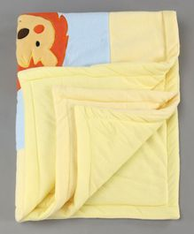 Baby Blanket Lion Print - Blue Yellow