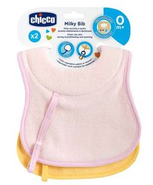 Chicco Milky Bib Pink Yellow - Pack of 2
