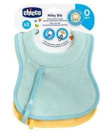 Chicco Milky Bib Blue Yellow - Pack of 2