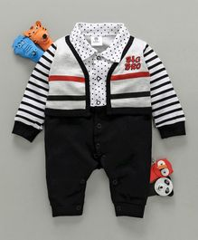 Mini Taurus Full Sleeves Striped Romper Big Bro Embroidery - Black & White