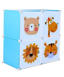 4 Compartment Storage Cabinet Tiger Print Print - Blue
