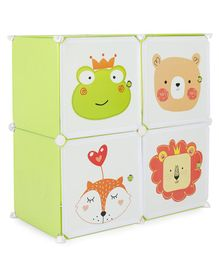 4 Compartment Storage Cabinet Frog Print - Green