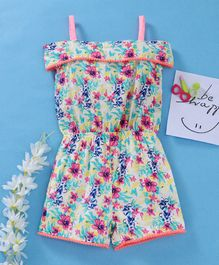 Babyhug Singlet Woven Jumpsuit Floral Print - White