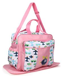 Diaper Bag With Changing Mat Air Plane Print - Pink