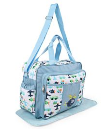 Diaper Bag With Changing Mat Air Plane Print - Light Blue