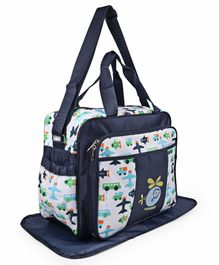 Diaper Bag With Changing Mat Air Plane Print - Navy