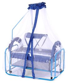 Baby Cradle With Mosquito Net Dots Print - Blue