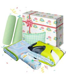 Fancy Fluff Travel Baby Combo Gift Box Set of 8 - Multicolour