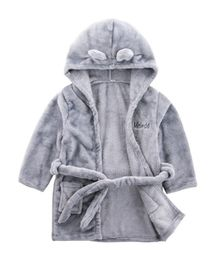 Pre Order - Awabox Ear Applique Full Sleeves Hooded Night Bath Robe - Gray