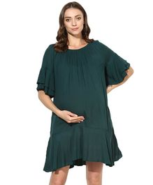 Wobbly Walk Solid Half Sleeves Maternity Dress - Green