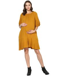 Wobbly Walk Solid Three Fourth Sleeves Maternity Dress - Yellow