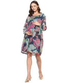 Wobbly Walk Abstract Printed Full Sleeves Maternity Dress - Blue & Pink