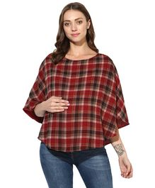 Wobbly Walk Three Fourth Sleeves Poncho for Maternity Wear & Nursing Cover - Maroon