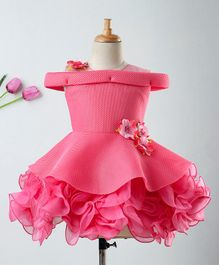 Enfance Flower Embellished Cold Shoulder Dress - Pink