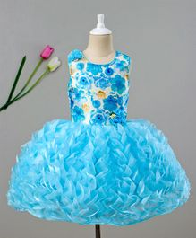 Enfance Floral Print Sleeveless Dress - Blue