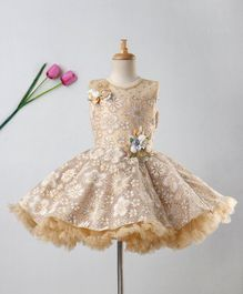 Enfance Flower Embellished Sleeveless Dress - Golden