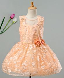 Enfance Embroidered & Pearls Embellished Sleeveless Dress - Peach