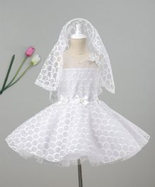 Enfance Flared Embroidered Sleeveless Dress With Veil - White