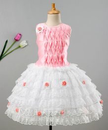 Enfance Sleeveless Lace Embroidery Net Dress - Pink