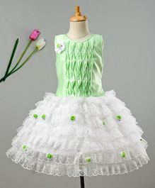 Enfance Sleeveless Lace Embroidery Net Dress - Green