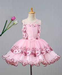 Enfance Floral Embroidered Sleeveless Dress - Pink