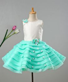 Enfance Flower Embellished Sleeveless Dress - Green