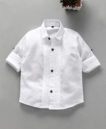 Dapper Dudes Full Sleeves Solid Front Buttoned Shirt - White