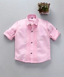 Dapper Dudes Full Sleeves Solid Front Buttoned Shirt - Light Pink