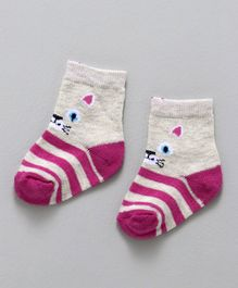 Cute Walk By Babyhug Non Terry Antibacterial Ankle Length Socks Kitty Design - Grey Pink