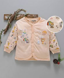 Cucumber Full Sleeves Cotton Vest Teddy Print - Peach