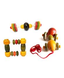Aatike Wooden Rattles And Pull Along Toy - Multicolour