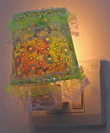 Night Lamp Floral Print - Green