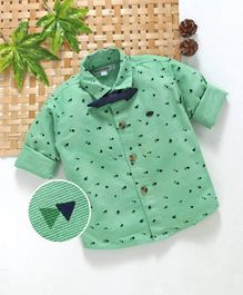 Jash Kids Full Sleeves Party Wear Printed Shirt With Bowtie - Sea Green