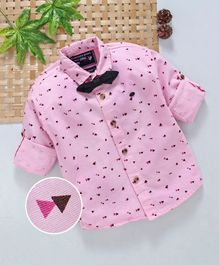 Jash Kids Full Sleeves Party Wear Printed Shirt With Bowtie - Pink