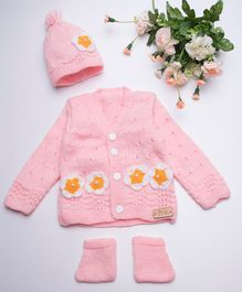 The Original Knit Full Sleeves Flower Adorned Sweater Set With Cap & Booties - Light Pink
