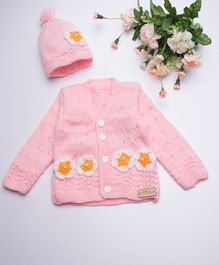 The Original Knit Sweater Set With Cap - baby pink