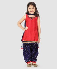Babyhug Sleeveless Patiala Suit With Dupatta - Red & Navy