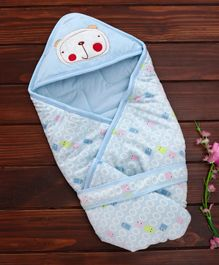 1st Step Hooded Wrapper Sheep Embroidery - Blue
