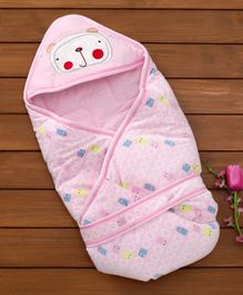 1st Step Hooded Wrapper Sheep Embroidery - Pink