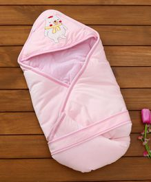 1st Step Hooded Wrapper Bear Embroidery - Pink