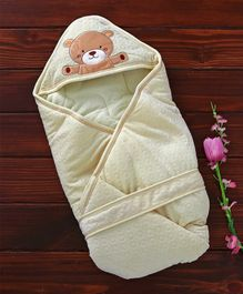 1st Step Hooded Wrapper Bear Embroidery - Light Yellow