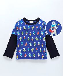 Crayonflakes Round Neck Bears Printed Full Sleeves Tee - Blue